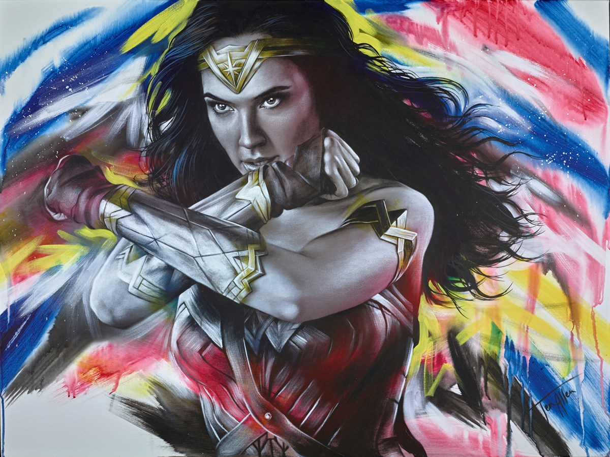 Diana, Princess of the Amazons by jen allen -  sized 40x30 inches. Available from Whitewall Galleries